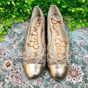 Sam Edelman Sara Golden Dotted White Flats